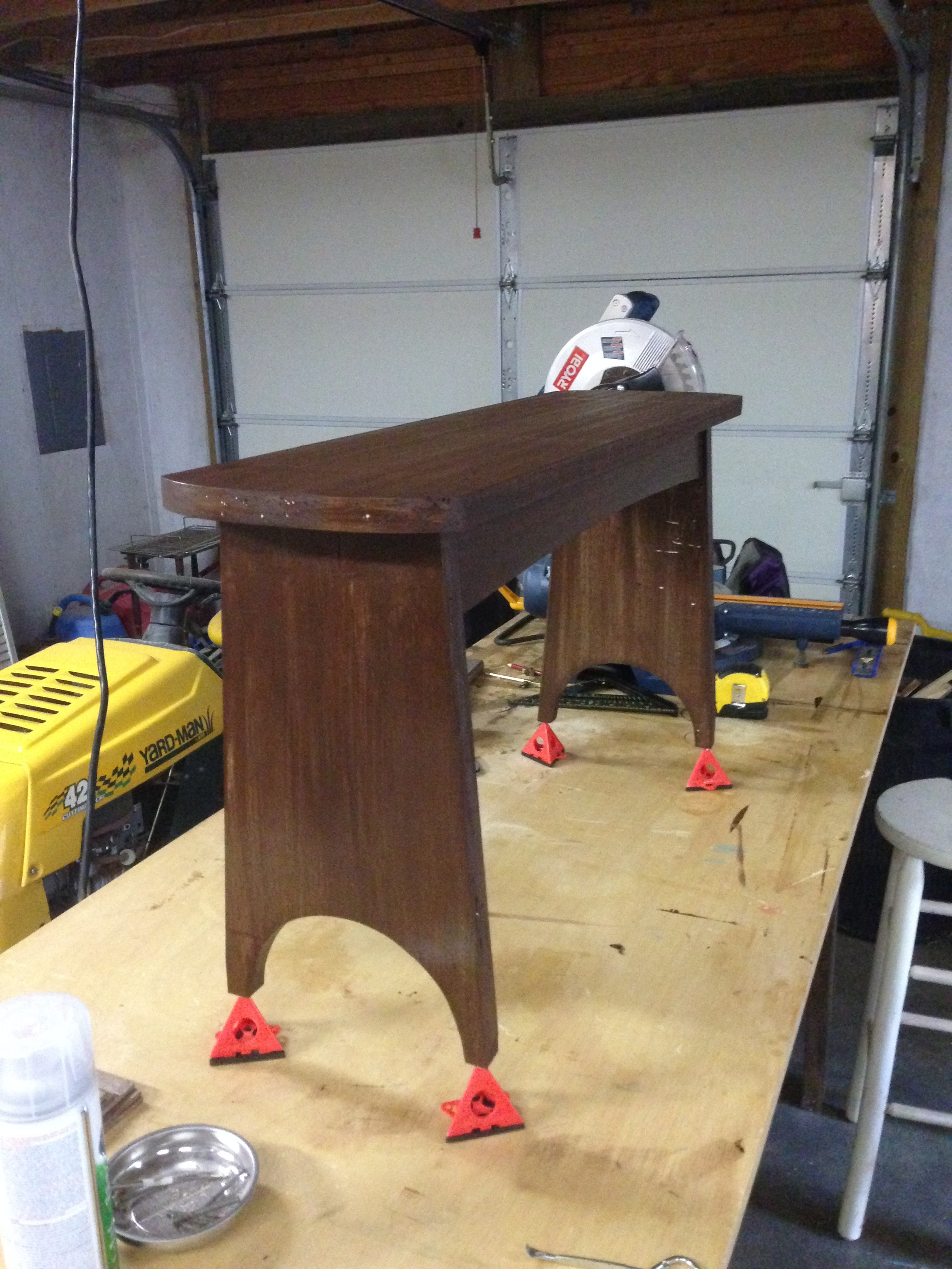 wanted this bench to look old, so I sanded some of the stain off. I ...